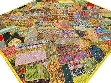 Dessus de lit Fait main Jaune Multicolore Couvre-lit Patchwork Inde Vintage