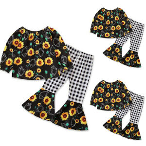 Kids Girls Floral Long Sleeve Tops Plaid Long Pants Trousers Outfit Casual Sets