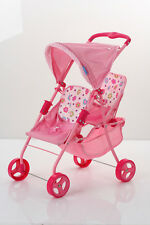 Twin Doll Stroller Spring Tandem Pink NEW Kids Toy Baby Girls Play Set Bag
