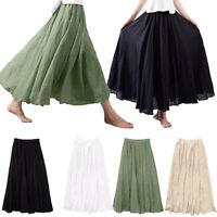 Women's Bohemian Cotton Linen Skirt Elastic Waist Bouncy Long Maxi Dress CO
