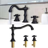 Vintage Oil Rubbed Bronze Bathroom Sink Mixer Tap Widespread Basin Faucet 1/2''