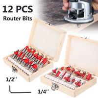 """12pc Router Bits Set Hartmetall 1/2'' 1/4"""" Schaft Universal Fit Saw Fräser Bits"""
