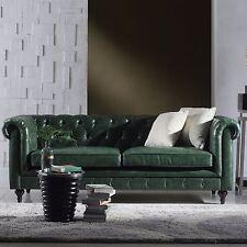 86''L Restoration Chesterfield Industrial Genuine Top Grain Green Leather Sofa