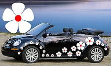 32 WHITE & RED CENTER PANSY CAR DECAL STICKERS,Camper Van,Wall, FLOWER STICKERS