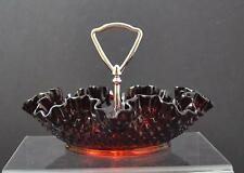 """Vintage Fenton Hobnail Ruby Red Ruffled Glass Round Footed Bowl Handle 7"""" O9"""