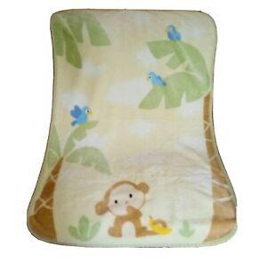 Carter's Monkey Blue Birds Clouds Yellow Green Throw Lap Blanket Jungle Theme