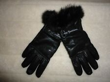 WOMENS HARLEY DAVIDSON S BLACK LEATHER CASHMERE FUR GLOVES NWOT