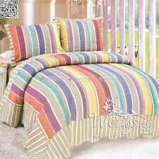 100%Cotton Patchwork Quilted Bedspread Set Queen/King Coverlet Bed Pillow Cases