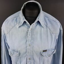 Wrangler Mens Vintage Denim Shirt Western XL Blue Classic Fit Cowboy Pearl Snap