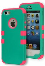 Hybrid Mint Green Hard Case Cover+Hot Pink Silicone for iPhone 5s, 5g