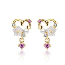Women's 925 Sterling Silver Rhinestone Crystal Shell Flower Heart Stud Earrings