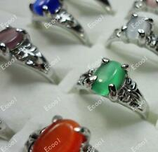 10pcs Multicolor opal rings woman silver plate wholesale Jewelry free shipping
