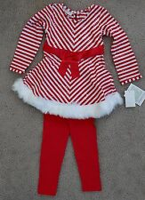 Bonnie Jean Candy Cane Holiday red/white Top&Leggings Playwear 2 Pc Set,size 5