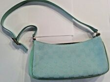 GUCCI Authentic real teal monogram handbag green patent leather strap clutch bag