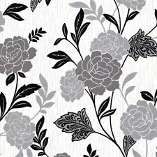 Black White Silver Flower Floral Wallpaper Textured Vinyl Glitter Carla Arthouse
