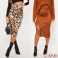Women High Waist Leopard Print Skirt Knee Midi Bodycon Slim Pencil Skirt Dress