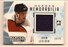 JOHN LECLAIR 2016-17 LEAF ITG HEROES & PROSPECTS GAME USED JERSEY RELIC /25