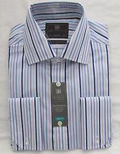 Men's Marks & Spencer Purple Mix Stripe Cotton Long Sleeve Shirt Collar 15