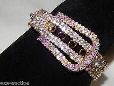 Gold With Ab Iridescent Rhinestone Belt Buckle Bracelet Adjustable