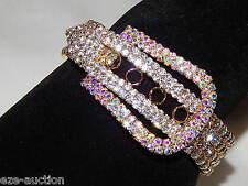 Gold With AB Iridescent Rhinestone Belt Buckle Bracelet Adjustable