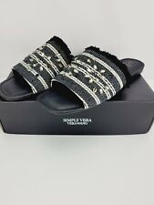 Simply Vera Vera Wang Charden Sz 10 Embellished Frayed Slip On Black Sandals NEW