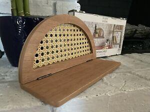 "NEW! Wooden Rattan 11"" x 4"" Floating Wall Shelf Dorm Room Boho Brown"