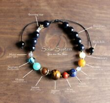Natural Gemstone Beaded Galaxy | Nine Planets | Solar System Star Bracelet