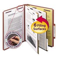 Smead Pressboard Classification Folders Self Tab Letter Six-Section Red 10/Box
