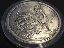 5 oz Nordic Creatures Drache Nidhoggr Antique Silver Finish Proof 999 Silber