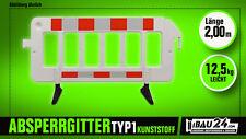 10 x Schrankenzaun/Absturzsicherung aus Kunststoff weiß 2,00m