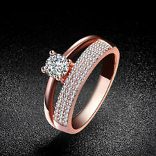 Rose Gold Plated 4mm CZ Classic Crystal Solitaire Engagement Wedding Ring UK M-S