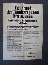 Plakat Erklärung der BRD, Im Bewußtsein der Verbundenheit mit Berlin, Adenauer