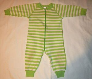 Hanna Andersson Vintage Old Style Sleeper Lime Green/White Stripe size 70
