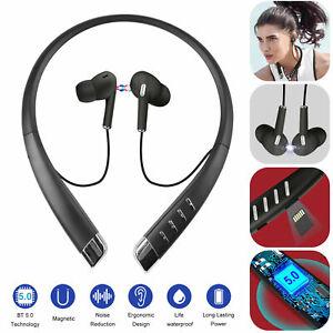 Bluetooth 5.0 Neckband Headset Wireless Earphone Earbuds In-Ear Headphone w/ Mic