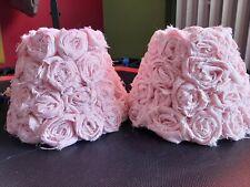 LAMPENSCHIRM 2x rosa Rosen Stoff - sehr guter Zustand