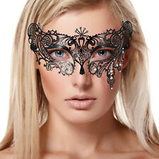 Black Lace Metal Masquerade Venetian Teardrop Mask Clear Diamante Fancy Dress