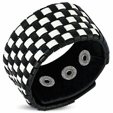 Genuine Black & White Leather Basket Weave Grid Checker Snap Wristband Bracelet