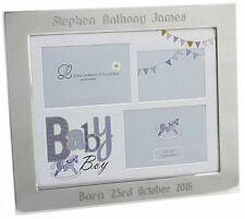 Personalised Mirrored Border Blue Baby Boy Triple Photo Frame, Engraved Gift