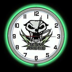 "19"" Arctic Cat Team Sign Green Double Neon Clock Man Cave Garage Snowmobile"