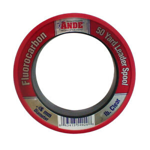 Ande 100% Fluorocarbon 50 Yard Leader Spool 80lb Clear 1.00mm Knot Strength NEW