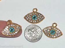 1 Pc Miniature TINY little crystal Golden Evil Eye protect Pendant charm 21x17mm