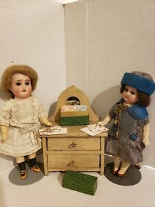 2 Antique Bisque /Glass Eyed Dolls 8 in.&  Antq Dresser and Mini German Cards !!