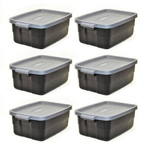 Rubbermaid Roughneck Tote 10 Gallon Storage Container, Black/Cool Gray (6 Pack)