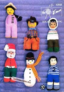 6 CHARACTER DOLLS / TOY - 8ply or DK - COPY toy knitting  pattern