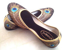 US 7 women handmade shoes sandal velvet peacock bollywood shoes traditional boho