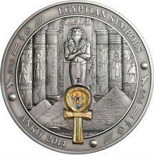 2014 3 Oz Silver Palau $20 EGYPTIANS SYMBOLS, ANKH Coin.