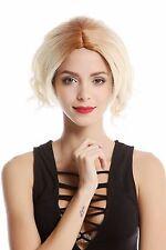 Perruque Pour Femme court Longbob Platine Blond Mix ondulés Raie au milieu