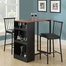 Counter Height Dining Set 3 Piece Home Breakfast Pub Bar Table Stools Wood Room