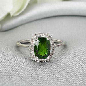 TJC Chrome Diopside Halo Ring Platinum Plated Silver White Diamond 1.49ct
