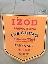 Izod Premium Saltwater Wash Chino Pants Cotton Flat Front Easy Care NWT 42x30